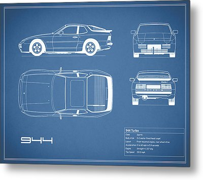 Porsche 944 Blueprint Metal Print by Mark Rogan