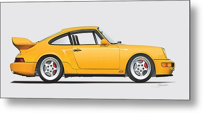 Porsche 964 Carrera Rs Illustration In Yellow. Metal Print by Alain Jamar