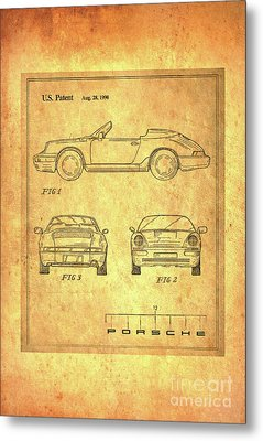 Porsche Blueprint Metal Print