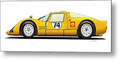 Porsche Carrera 906 Illustration Metal Print by Alain Jamar