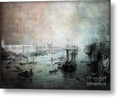 Port Of London - Circa 1840 Metal Print by Lianne Schneider