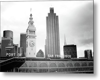 Metal Print featuring the mixed media Port Of San Francisco Black And White- Art By Linda Woods by Linda Woods