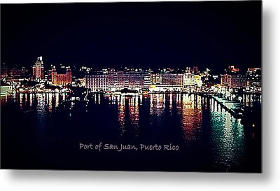 Metal Print featuring the photograph Port Of San Juan Night Lights by DigiArt Diaries by Vicky B Fuller