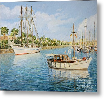 Port Vell In Barcelona Metal Print by Kiril Stanchev