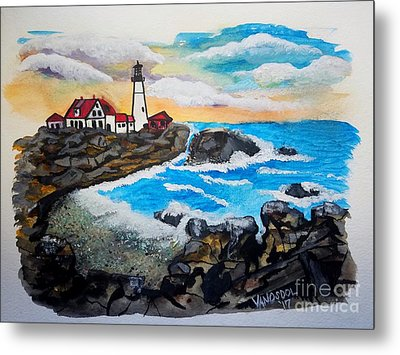 Porthead Lighthouse Maine In Watercolors Metal Print