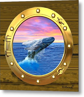 Porthole View Of Breaching Whale Metal Print