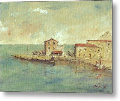 Porticello Santa Flavia  Seascape At Sicily Palermo Metal Print by Juan  Bosco