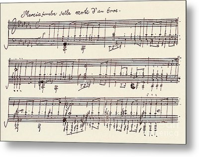 Portion Of The Manuscript Of Beethoven's A Flat Major Sonata, Opus 26 Metal Print by Beethoven