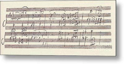 Portion Of The Manuscript Of Beethoven's Sonata In A, Opus 101 Metal Print by Beethoven
