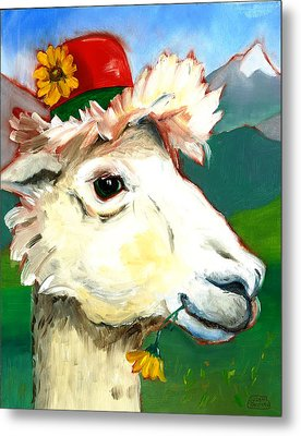 Metal Print featuring the painting Portland Alpaca by Susan Thomas