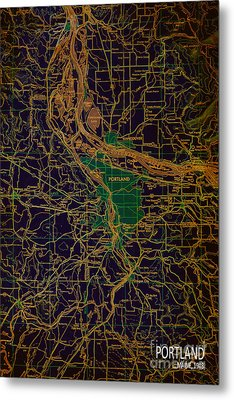 Portland Brown And Green Antique Map Metal Print