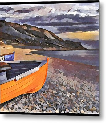 Portland Chesil Beach Metal Print