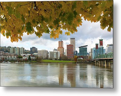 Portland City Skyline Under Fall Foliage Metal Print