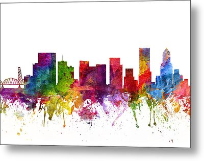Portland Cityscape 06 Metal Print by Aged Pixel
