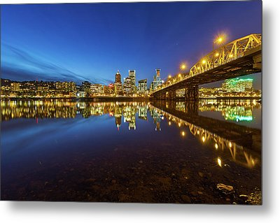 Portland Downtown Blue Hour Metal Print
