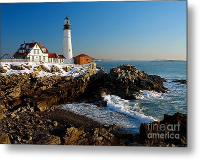 Portland Head Light - Lighthouse Seascape Landscape Rocky Coast Maine Metal Print