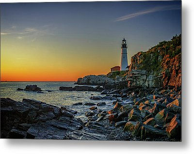 Portland Head Light At Dawn Metal Print by Rick Berk