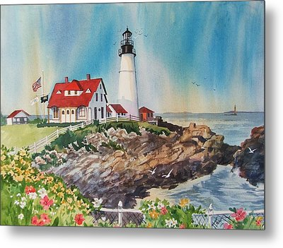 Portland Head Light Metal Print by Dianna  Willman