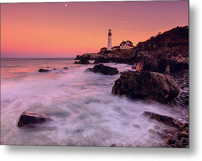 Metal Print featuring the photograph Portland Head Light In Pink  by Emmanuel Panagiotakis