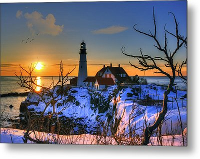 Portland Head Light Sunrise - Maine Metal Print by Joann Vitali