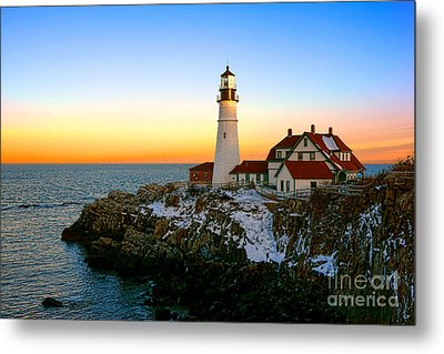 Metal Print featuring the photograph Portland Head Light Winter Sunset by Olivier Le Queinec