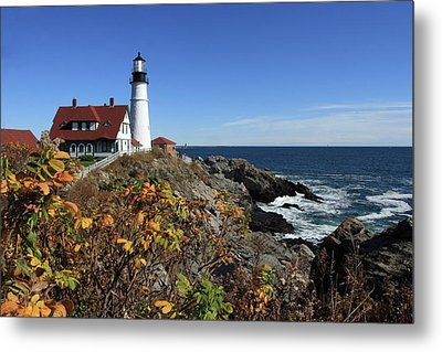 Portland Head Lighthouse In The Fall Metal Print by Lou Ford