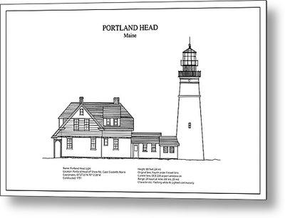 Portland Head Lighthouse - Maine - Blueprint Drawing Metal Print