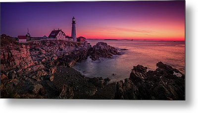 Metal Print featuring the photograph Portland Head Lighthouse Sunrise  by Emmanuel Panagiotakis