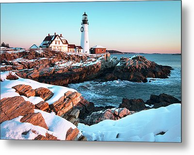 Portland Head Lighthouse Winter Sunrise Metal Print by Eric Gendron