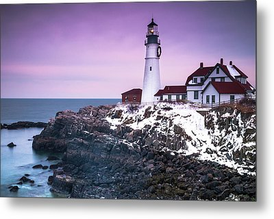 Maine Portland Headlight Lighthouse In Winter Snow Metal Print by Ranjay Mitra