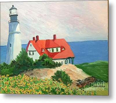 Portland Headlight With Brown Eyed Susans Metal Print by Stella Sherman