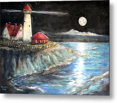 Portland Maine Twilight Metal Print by Bernadette Krupa