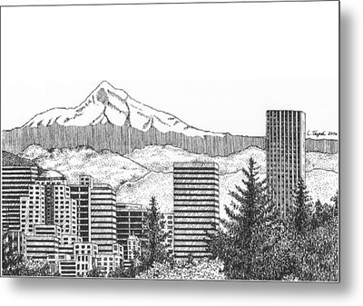 Portland-mt. Hood Metal Print by Lawrence Tripoli