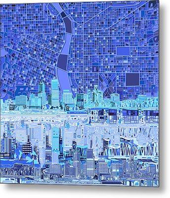 Portland Skyline Abstract 5 Metal Print