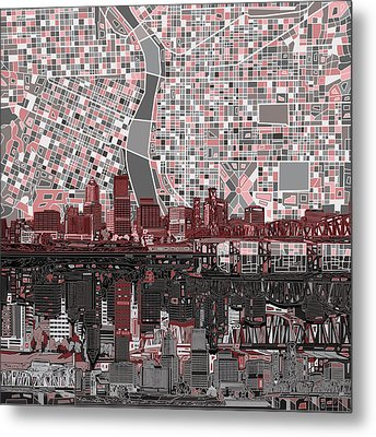 Portland Skyline Abstract 8 Metal Print