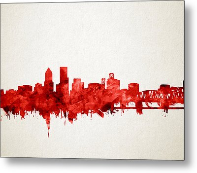 Portland Skyline Watercolor 3 Metal Print