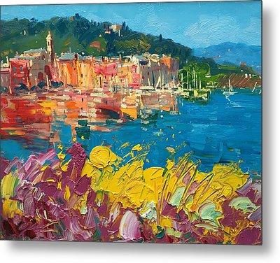 Portofino Harbor With Flowers Metal Print