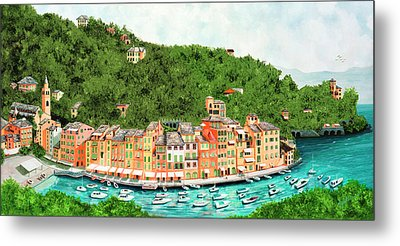 Portofino, Italy Prints From Original Oil Painting Metal Print