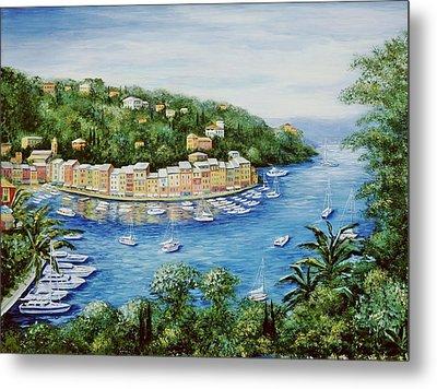 Portofino Majestic Panoramic View Metal Print by Marilyn Dunlap