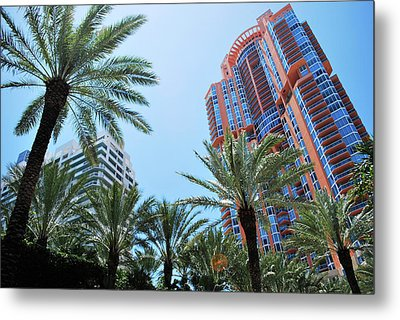 Portofino Towers South Beach Miami Metal Print by Amanda Vouglas