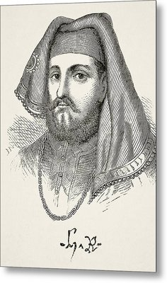 Portrait And Autograph Of King Henry Iv Metal Print
