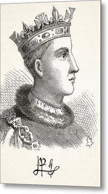 Portrait And Autograph Of King Henry V Metal Print