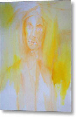 Portrait In Yellow Metal Print