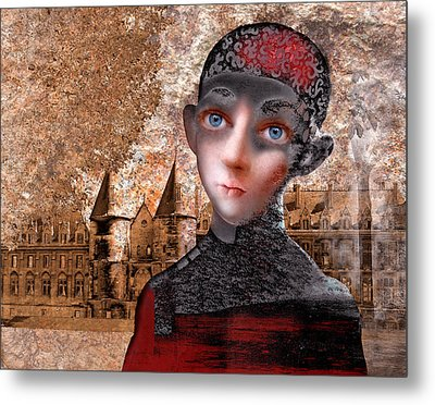 Portrait Of A Boy With A Castle In The Background. Metal Print by Ilir Pojani