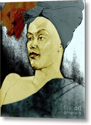 Tinted Portrait Drawing Of A Bronx Beauty Metal Print