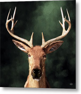 Metal Print featuring the digital art Portrait Of A Buck by Daniel Eskridge
