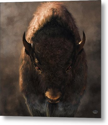 Portrait Of A Buffalo Metal Print by Daniel Eskridge