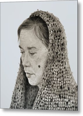 Portrait Of A Filipina Woman With A Mole On Her Cheek And Wearing A Scarf Metal Print