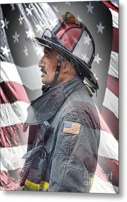 Portrait Of A Fire Fighter Metal Print by Jim Fitzpatrick