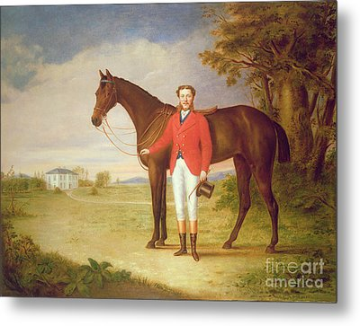 Portrait Of A Gentleman With His Horse Metal Print by English School